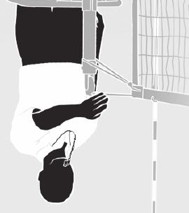 NET FAULT/NET SERVE Hold the arm outstretched on the side of the violating team with open hand, fingers together and palm toward the net, but not touching the net.