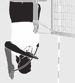 7. LEGAL BACK-ROW ATTACK Arm on attacker s side of net is extended parallel to the floor at chest level, palm down.