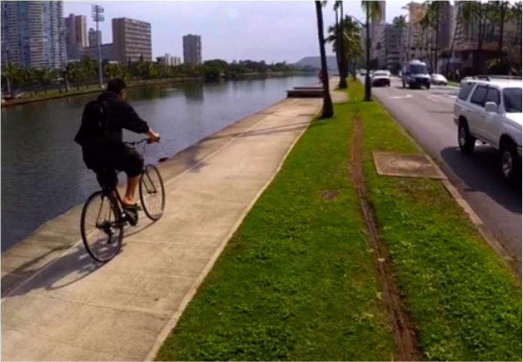 Observations find frequent people cycling on the canal-side sidewalk The Hawaii Department of Health database of Emergency Medical Services traffic injury response data 2007-2014 shows 43