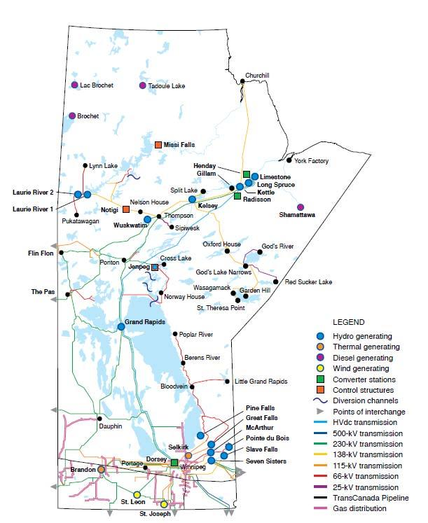 The Power in our Province Core generation is from water power - 15 hydropower stations 5,200 MW developed 5,000 MW remaining potential 99% of electricity generated in Manitoba is