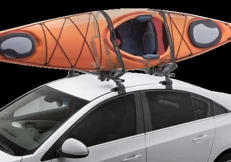 Vertical Kayak Carriers 4 ways to carry: Kayaks in the saddle, J-style and stacker positions or transport your SUP Folds down when not in use Padded arms to