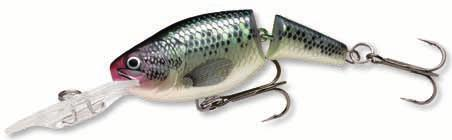 Rapala Jointed Shad Rap Code: JSR Suspending Deep Diving A jointed model of a popular Shad Rap The uniquely jointed tail imparts a fast, tight action to the lure even at low speed Fitted with the VMC