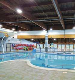8 Metres Deep in Deep End Lane Swims Female Only Programs (Swims and Lessons) Brampton Lifesaving Club Warm water leisure pool with water features 2 storey water slide Hot tub and Sauna
