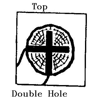 If a single hole will not hold the quantity of explosives required, a second hole at right angles to the first should be drilled and loaded, as shown below. Fig. 113. Double Hole Timber Blasting.