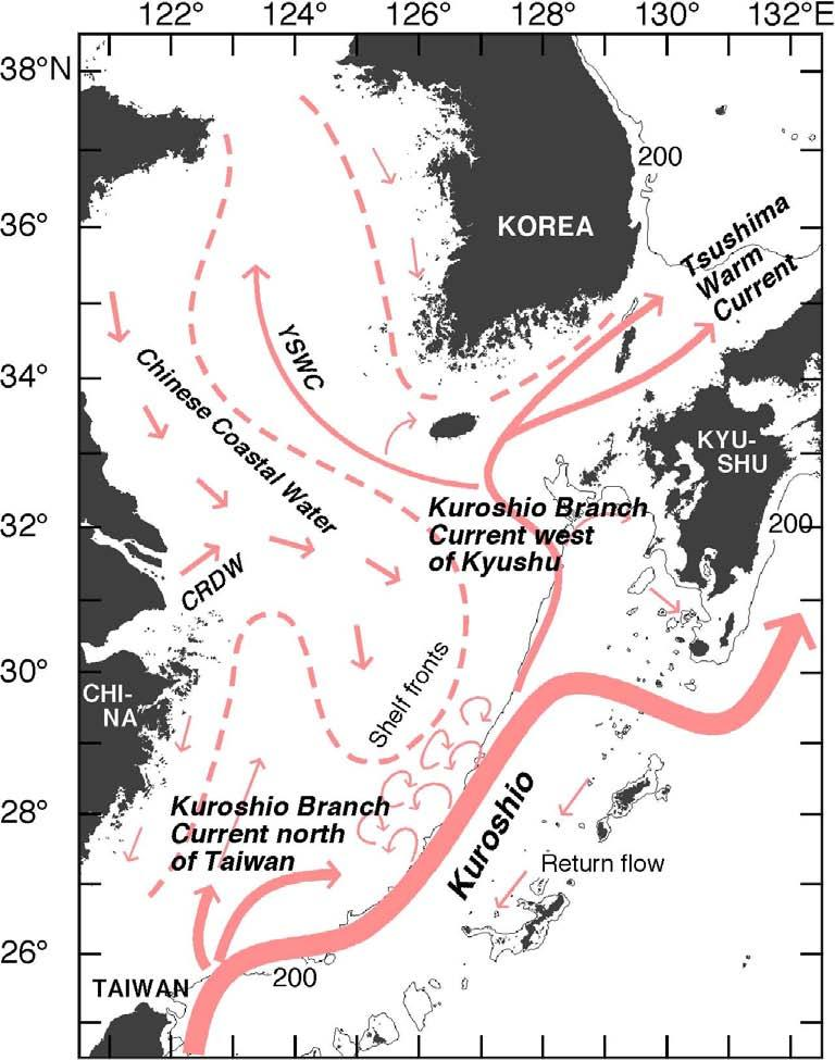 The following current systems in the East China Sea (1) Kuroshio (2) Kuroshio Branch Current north of Taiwan (3)