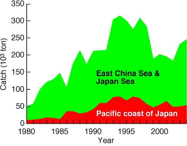 ranged 180 310 thousand metric tons in Japanese waters Annual catch in