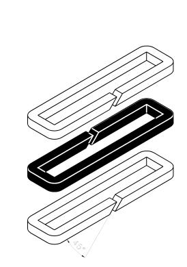 - Replace around the gate in the sequence shown at drawing above, a packing material strip whose ends have been chamfered (45º). The 2 ends should match properly, see detail below.
