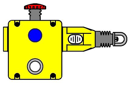3 Operating and display elements 1: red E-stop 2: blue reset button 3: dual LED 4: rope