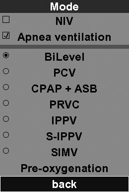 "6. Ventilation modes You can select different ventilation modes in the ""Mode"" menu (see ""5.5 Selecting a ventilation mode"" on page 41)."