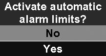 "2 Alarm Limits"" on page 74), you can set the amount of deviation (in %) from the current respiratory value, which should trigger an alarm."