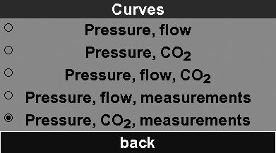 7.3 Curves In this menu, you can vary the display for monitoring ventilation.