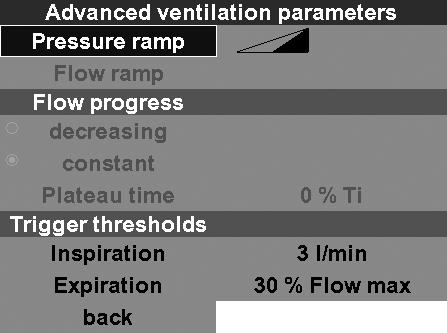 Pressure ramp With this function you can set how quickly the inspiratory ventilation pressure should be reached.