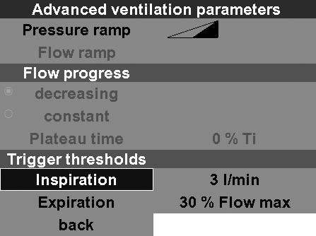 flow progress, for the duration of the plateau time, no gas will be administered to the patient and at the same time expiration will be prevented.