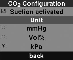 7.7 Options CO 2 configuration In this menu, you can activate CO 2 suction. You can only access this menu if you have a unit equipped with CO 2 measurement.