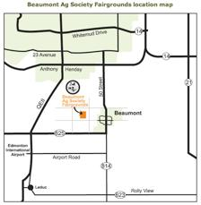 Show will be held at the Beaumont & District Agricultural Society Grounds (approx 2km West of town on 50 th Ave) GPS Locate-Leduc County-24358-TWP Rd 505 Camping: Dry camping available on site (no