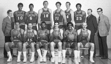 1970-1971 CHICAGO BULLS Left to right: (front row): Matt Guokas, Jim King, Jim Collins, Jerry Sloan, John Baum, Bob We