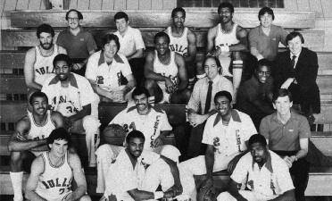 1982-1983 CHICAGO BULLS Left to right: (first row): Mike Bratz, Ronnie Lester, Quintin Dailey. (second row): Dudley Bradley, Reggie Theus, Rod Higgins, Head Coach Paul Westhead.