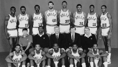 1984-1985 CHICAGO BULLS Left to right: (front row): Ronnie Lester, Ennis Whatley, Michael Jordan, Quintin Dailey, Wes Matthews.