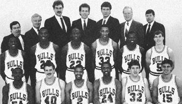 1988-1989 CHICAGO BULLS Left to right: (front row): Horace Grant, Dave Corzine, Brad Sellers, Bill Cartwright, Will Perdue, Jack Haley.