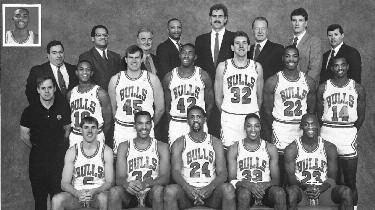 1989-1990 CHICAGO BULLS Left to right: (front row): John Paxson, Stacey King, Bill Cartwright, Scottie Pippen, Michael Jordan. (middle row): Strength and Conditioning Consultant Al Vermeil, B.J. Armstrong, Ed Nealy, Jeff Sanders, Will Perdue, Charles Davis, Craig Hodges.