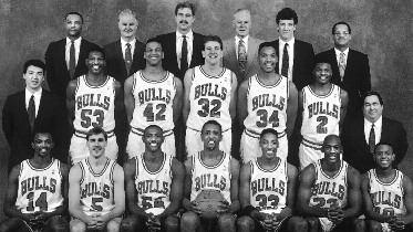 1990-1991 CHICAGO BULLS Left to right: (front row): Craig Hodges, John Paxson, Horace Grant, Bill Cartwright, Scottie Pippen, Michael Jordan, B.J. Armstrong.
