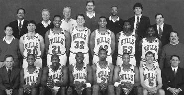 1991-1992 CHICAGO BULLS Left to right: (front row): Strength & Conditioning Consultant Al Vermeil, B.J.