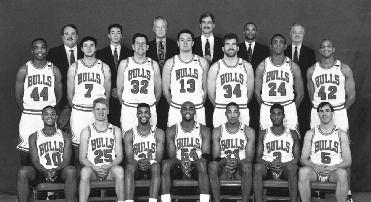 1993-1994 CHICAGO BULLS Left to right: (front row): B.J. Armstrong, Steve Kerr, Pete Myers, Horace Grant, Scottie Pippen, Jo Jo English, John Paxson.