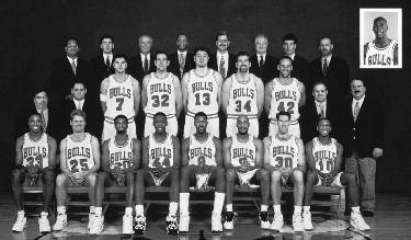 1994-1995 CHICAGO BULLS Left to right: (front row): Scottie Pippen, Steve Kerr, Pete Myers, Corie Blount, Dickey Simpkins, Ron Harper, Jud Buechler, B.J. Armstrong.