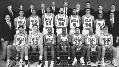 1995-1996 CHICAGO BULLS Left to right: (front row): Toni Kukoc, Luc Longley, Dennis Rodman, Michael Jordan, Scottie Pippen, Ron Harper, Steve Kerr. (middle row): Equipment Mgr.