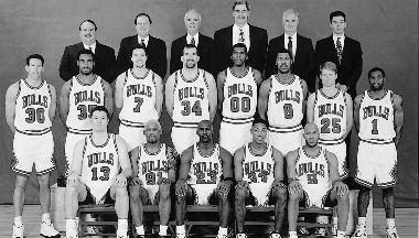 1996-1997 CHICAGO BULLS Left to right: (front row): Luc Longley, Dennis Rodman, Michael Jordan, Scottie Pippen, Ron Harper.