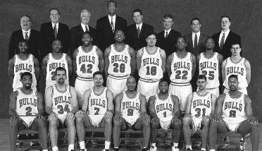 1998-1999 CHICAGO BULLS Left to right: (front row): Mark Bryant, Bill Wennington, Toni Kukoc, Ron Harper, Randy Brown, Brent Barry, Dickey Simpkins.