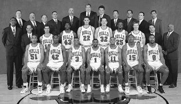 1999-2000 CHICAGO BULLS Left to right: (front row): Michael Ruffin, Elton Brand, Hersey Hawkins, Randy Brown, B.J. Armstrong, Ron Artest, Dickey Simpkins.