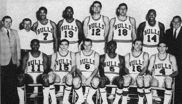 1968-1969 CHICAGO BULLS Left to right: (front row): Clem Haskins, Loy Peterson, Erwin Mueller, Flynn Robinson, Barry Clemens, Jerry Sloan.