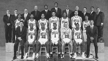 2001-2002 CHICAGO BULLS Left to right: (front row): Assistant Athletic Trainer Eric Waters, Travis Best, Trenton Hassell, Jamal Crawford, Fred Hoiberg, A.J. Guyton, Head Athletic Trainer Fred Tedeschi.