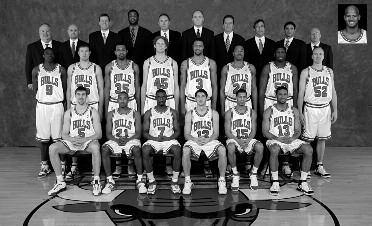 2005-2006 CHICAGO BULLS Left to right: (front row): Andrés Nocioni, Chris Duhon, Ben Gordon, Kirk Hinrich, Jannero Pargo, Eddie Basden.