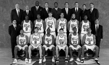 2007-2008 CHICAGO BULLS Left to right: (front row): Chris Duhon, Andrés Nocioni, Ben Gordon, Kirk Hinrich, Larry Hughes, Thabo Sefolosha.