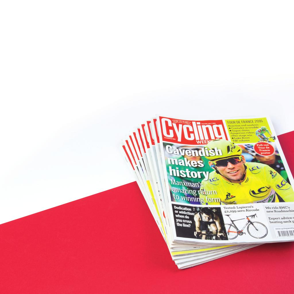 Cycling Weekly Circulation 24,448 Print 23,205 Digital 1,243 (ABC Jan-Dec 15) The UK s biggest and best cycling magazine 125 years old in 2016, Cycling Weekly remains at the very centre of cycling