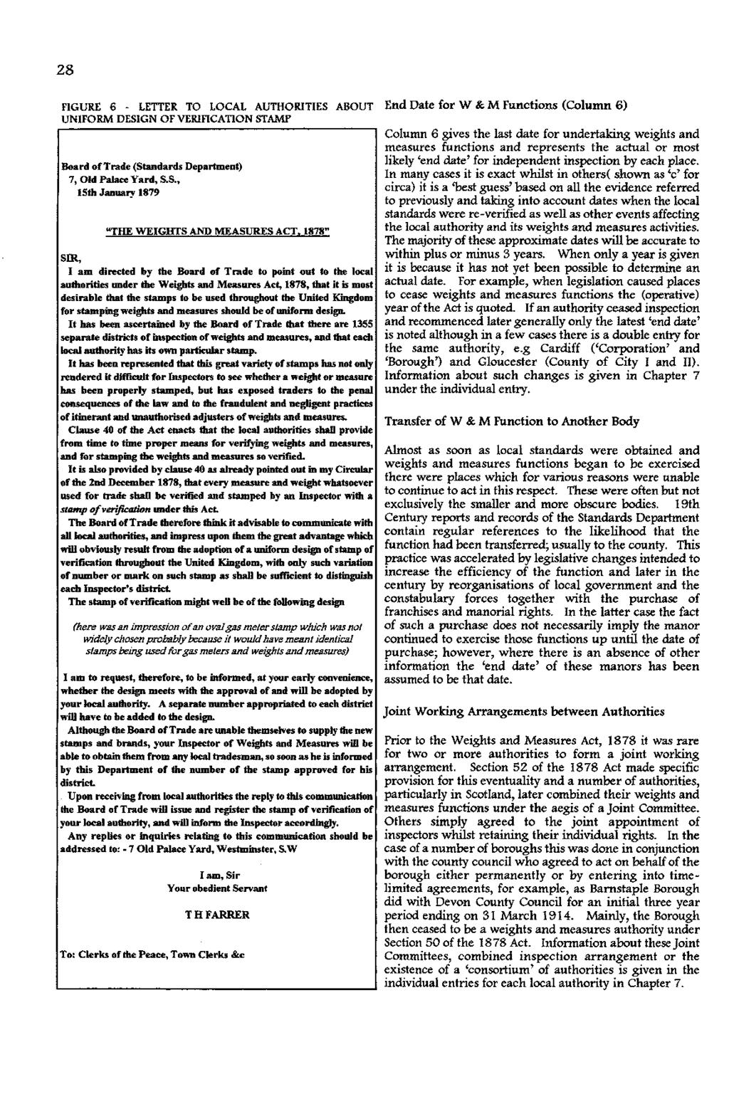 "28 FGURE 6 - LETER TO LOCAL AUTHORTES ABOUT End Date for W &; M Functions (Column 6) UNFORM DESGN OF VERFCATON STAMP Board of Trade (Standards Department) 7, Old Palace Yard, s.s., 15th January 1879 ""THE WEGHTS AND MEASURES ACT."