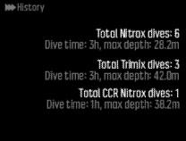 3.11. Dive history Dive history is a summary of all the dives done with your Suunto EON Core. The history is divided according to the dive mode used for the dive.