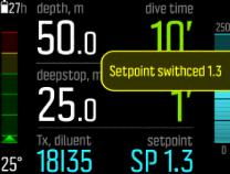 3.25.3. Setpoints Your cutom rebreather dive mode has two setpoint values, low and high. Both are configurable: Low setpoint: 0.4 0.9 (default: 0.7) High setpoint: 1.0 1.6 (default: 1.