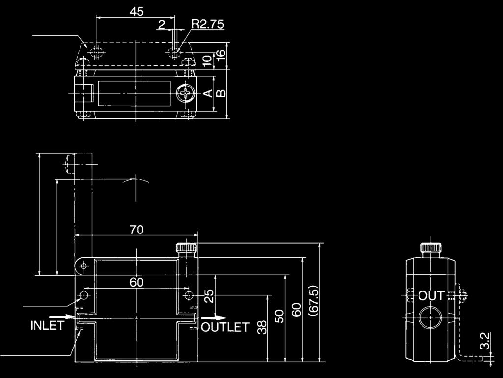 Model Port size A B ZFA 1 8 18 ZFA 1 4 28 Manifold Pitch (Section F-F') Port size (The above diagram is for