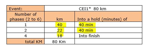 2. MINIMUM DISTANCE PER DAY Please complete the km and hold for every phase in taking into account that: Phases: All 160 km rides must have a minimum of 6 phases.