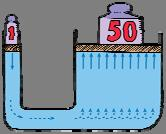 The pressure the left piston exerts against the water will be exactly equal to the pressure the water exerts against the right piston if the levels are the same.