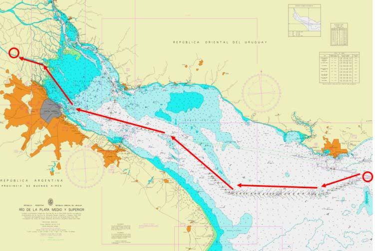 Ship Manoeuvring study. Navigation between the common area of Rio de La Plata and the intended location. Ship Manoeuvring study. Approach and docking to the FSRU.