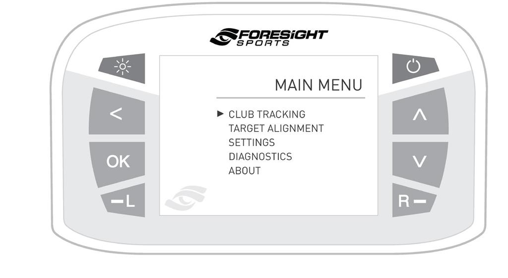 The Main Menu consists of 5 options: Club Tracking, Target Alignment, Settings, Diagnostics, and