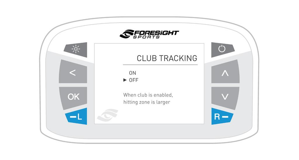 HITTING AREA (ball+club) When club tracking is turned off, the