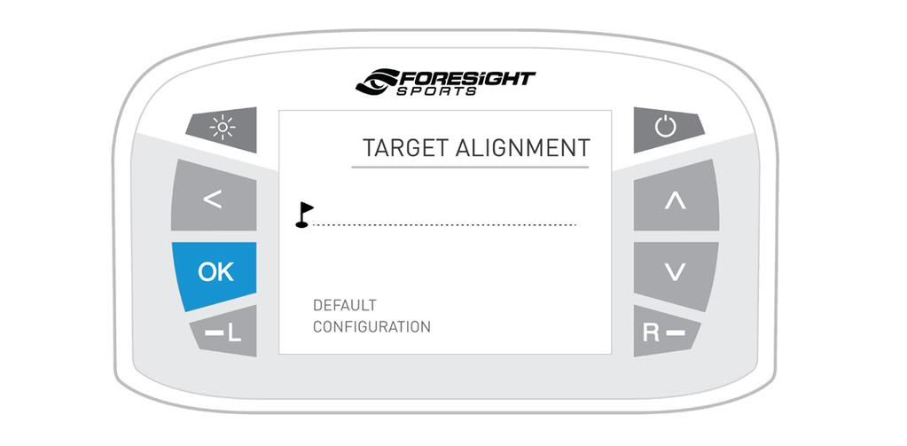 TARGET ALIGNMENT The target alignment screen shows the current alignment configuration of the device.