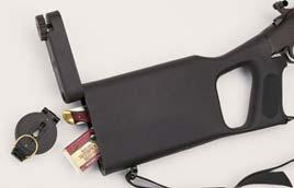 Bull Barrel Hidden compartment in high-density polymer stock holds survival necessities.