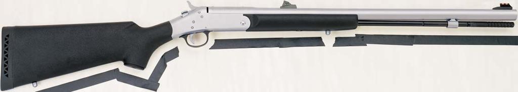 "50 caliber muzzleloader featuring a stainless steel 26"" barrel, matte nickel-finished receiver and high-density, black matte polymer pistol grip stock."