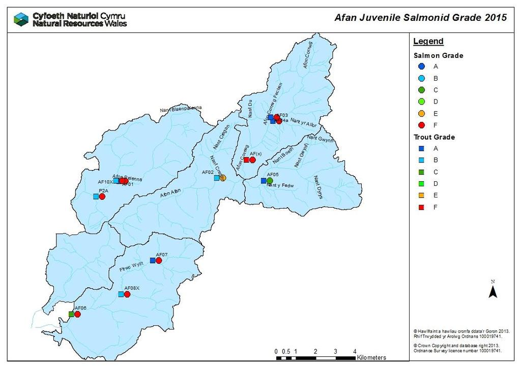 Juvenile Monitoring The following maps show results of the 2015 juvenile salmonid populations gathered from electro fishing surveys.